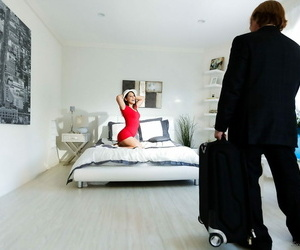 Brunette Abella Danger in lace undergarments undressing &..