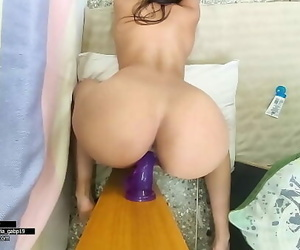 Puny with big booty pounds a very big dildo for her tiny..