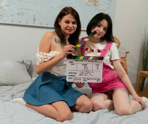 Horny Russian teenagers Candy Black and Odetta French kiss..