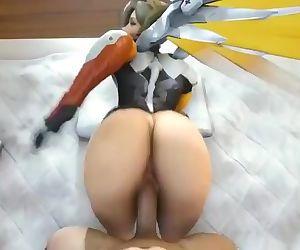 3d mercy big ass smashing overwatch