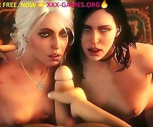 2 faces cumshot in porn game