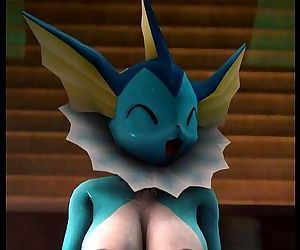 Vaporeon fucks a huge cock - 28 sec