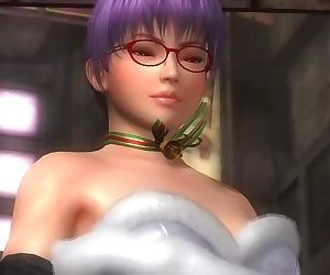 Dead or alive 5 Ayane in sexy christmas skirt windy upskirt exposed her ass