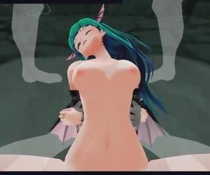 Darkstalkers Hentai - Succubus Morrigan has her own Harem