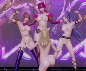 Black Pink - how you like that Nude Vers. Ahri Akali Evelynn Kaisa 3D Erotic Dance