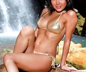 Shiny gold bikini is astoundingly..