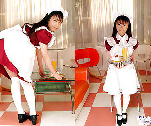 Teenage asian maid with tiny tits Emiru Momose slipping off her uniform