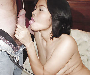 Slutty asian chick gives a..