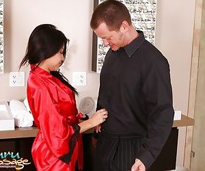 Lecherous asian masseuse has some..