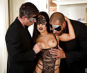 Masked Asian pornstar Asa Akira..