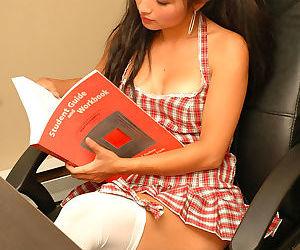 Asian schoolgirl Aria Lee exposes..