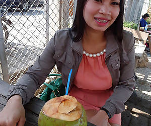 HotAsian Ping shows her pieced..