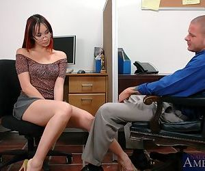 Asian office hottie in glasses..
