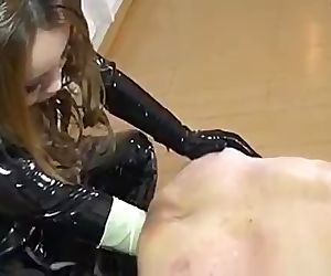 femdom rubber latex anal fisting..