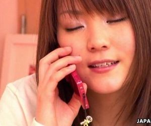 Japanese girl having phone sex -..