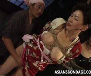 Bound Japanese MILF groans while..