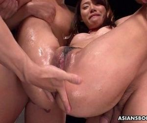 Asian bitch has a threesome that..