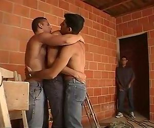 Lewd muscled construction workers after work threesome..