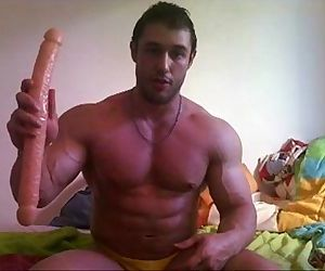 Hunk goes deep with his big dildo www.PromiscuousBoys.com.br