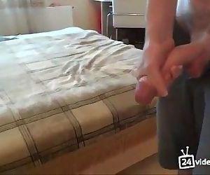 Hot russian boy jerks his huge uncut dick