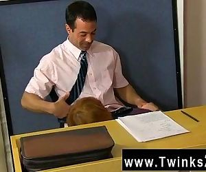 Hot gay scene Teacher Mike Manchester is working late, but..
