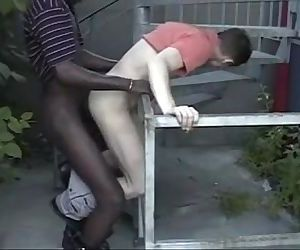 Interracial Bareback Outdoor
