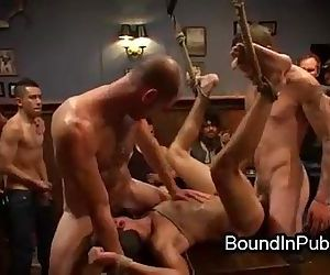 Bound gay groped and gangbang fucked in crowded restaurant..