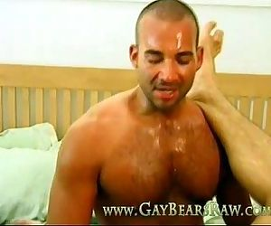 Sweaty gay bears Jesse and Sam cumming
