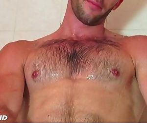 Taking a shower whith esteban a sexy str8 guy serviced by..