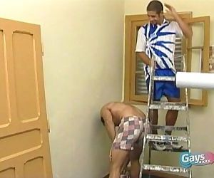 An innocent accident on painting leading to hot gay action