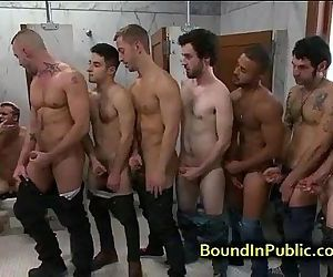 Bound gay face cummed in public restroom