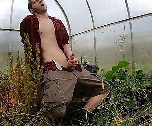 Hot & Sweaty Farm Boy Redneck - Close Up Squirting Cumshot