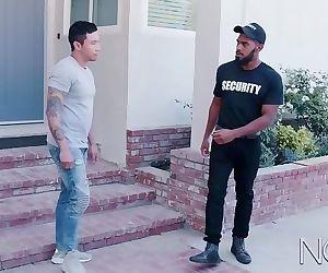 NoirMale Hunk Big Black Dick Security Fucks Cute Asian Boy!