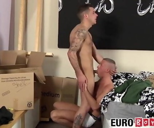 European Jock Barebacking Lover before Dripping Jizz