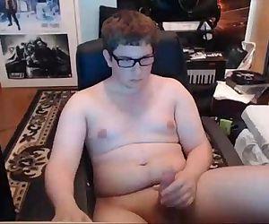 Chub With Glasses Masturbates and Cums