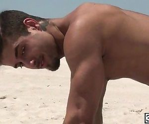 Beach buddies Diego Sans and Jack Radley enjoys hard ass pounding