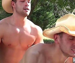 Cowboys Brenner Bolton and Luke Adams gay fucked hard at the back of the car