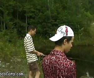 Unlucky young fishermen filmed fucking in forest