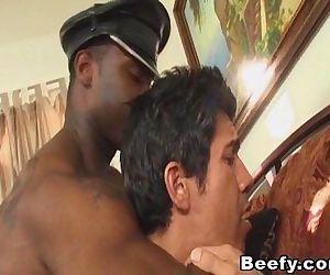 Beefy Black Dude Anal Fucks White Gay
