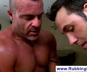Gay masseur begs client to pound his ass