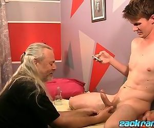 Big daddy JS Wild cock massaging sexy twink Aidan Young