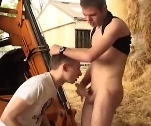 Horny Ks Enjoy Bareback Sex on the Construction Machine