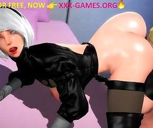 Lesbian ass licking in 3d porn game