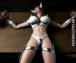 Hottie 3D hentai slave gets tied..