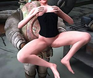 Hot and horny 3d whore fucks her..