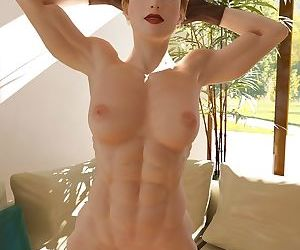 Nude muscle girl shows off her..