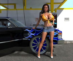 Sexy 3d babe at public carwash..