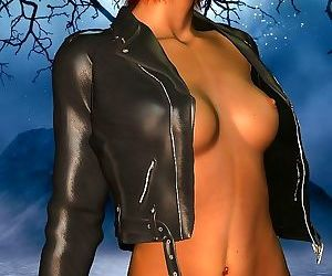 Short hair redhead toon babe wearing leather jacket..