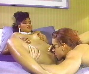 Hot busty black chick & giant white dick
