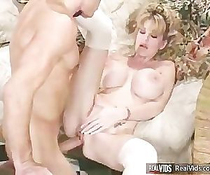 Sexy chick with huge boobs gets banged